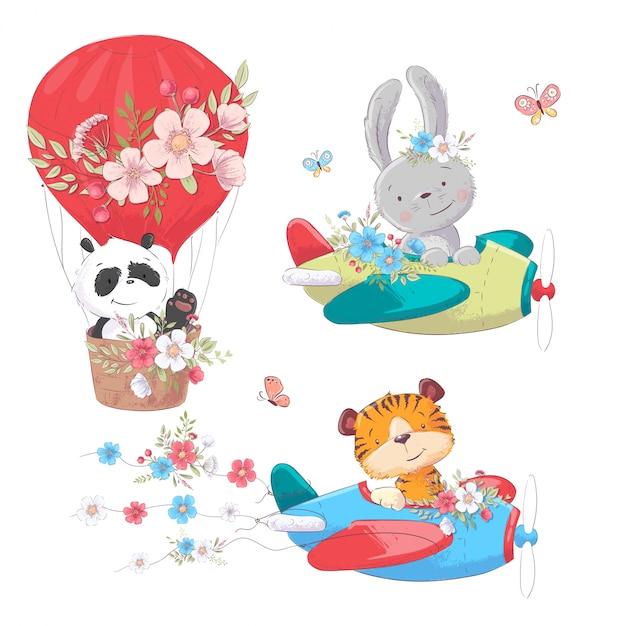 かわいい漫画動物輸送車両船と気球 Premiumベクター