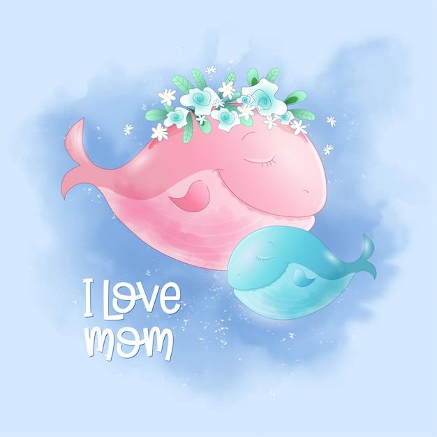 かわいい漫画クジラママと息子の空 Premiumベクター