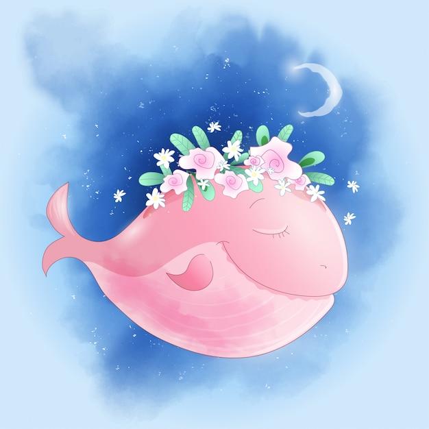 バラと空にかわいい漫画のクジラ Premiumベクター