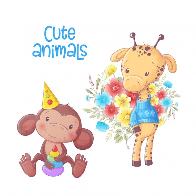 かわいい漫画動物猿とキリンの手描き。 Premiumベクター