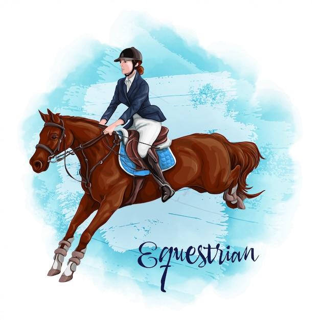 Женщина верховая езда. конный спорт. Premium векторы