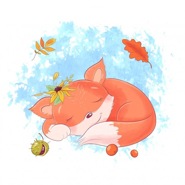 かわいい漫画のキツネは眠っています、秋、葉。 Premiumベクター