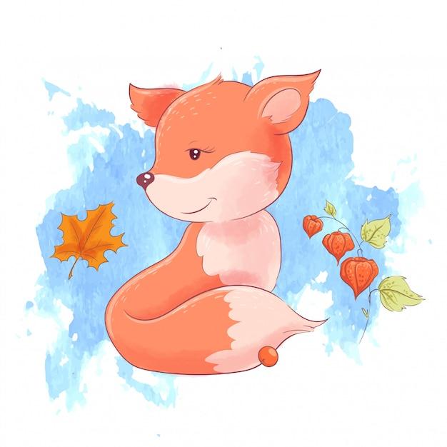 Милый мультфильм лиса и осенние листья Premium векторы