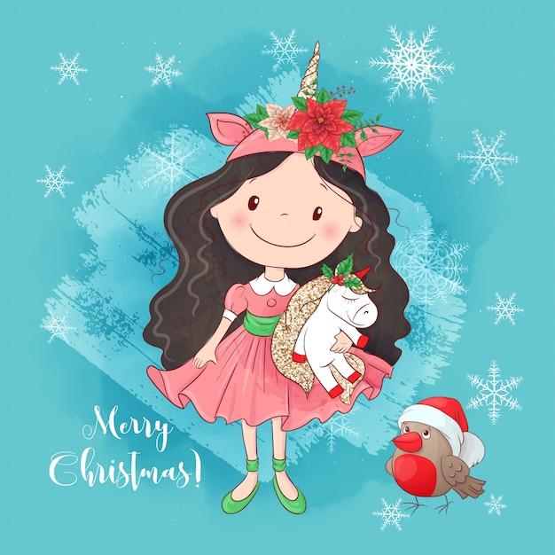 ユニコーンのかわいい漫画の女の子。新年とクリスマスのグリーティングカード。 Premiumベクター