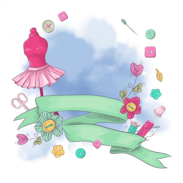 Логотип для вязания рукоделия в стиле ручного рисования. Premium векторы