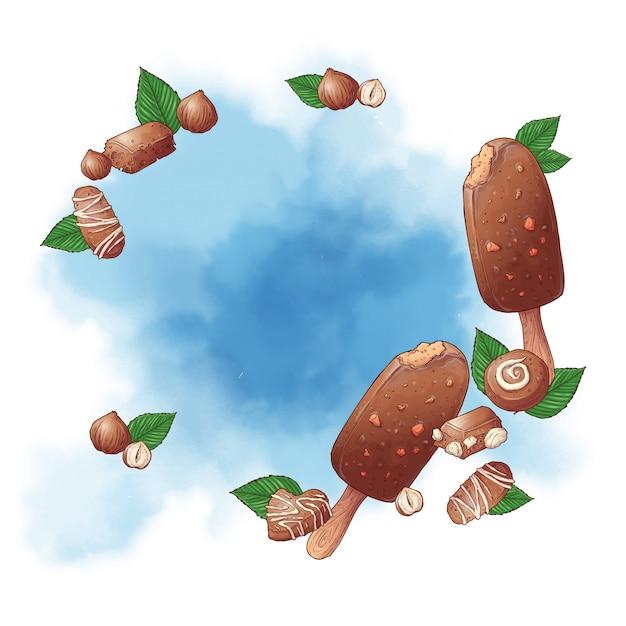 お菓子のアイスクリームアイスキャンデーとナッツチョコレートのロゴの背景。ベクトル図 Premiumベクター