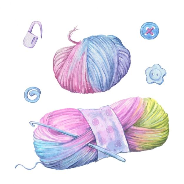 Акварельный клубок пряжи для вязания в форме сердца. Premium векторы