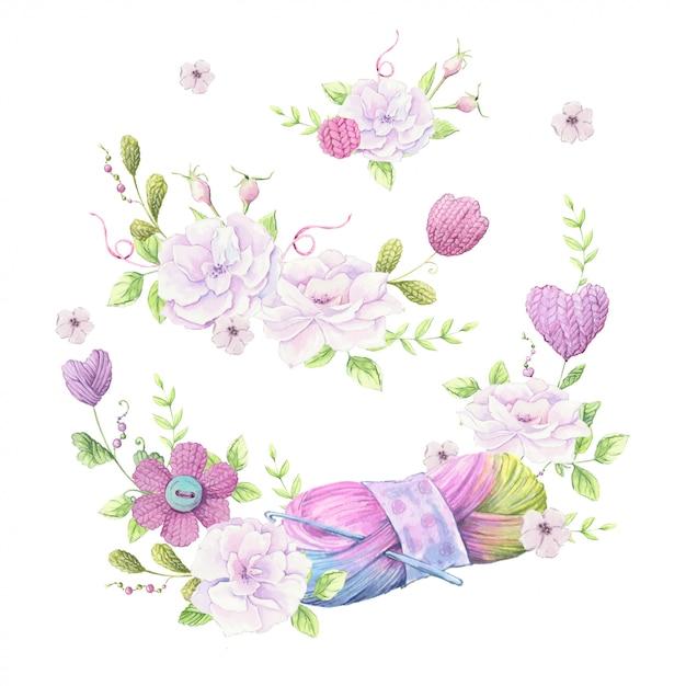 淡いピンク色の野生のバラの花束と編み物用のアクセサリーのリースの水彩イラスト Premiumベクター