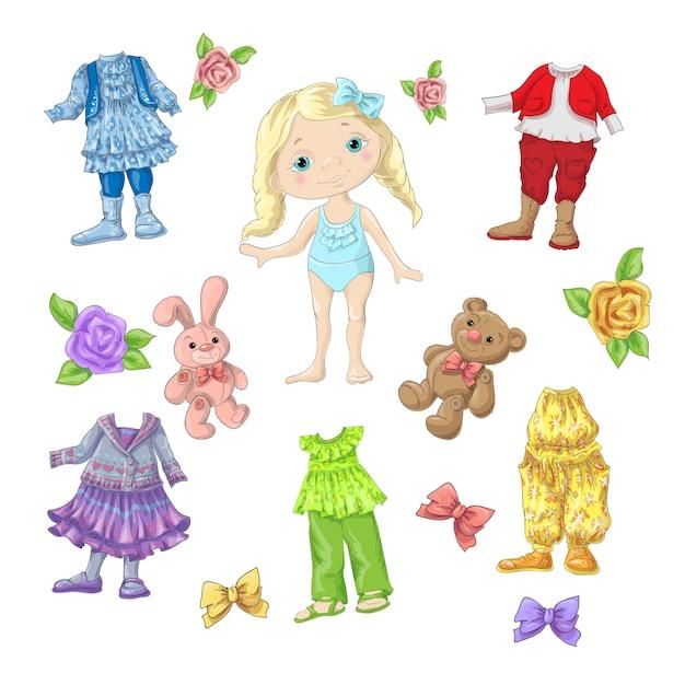 アクセサリーやおもちゃを着た服を着たかわいい人形。 Premiumベクター