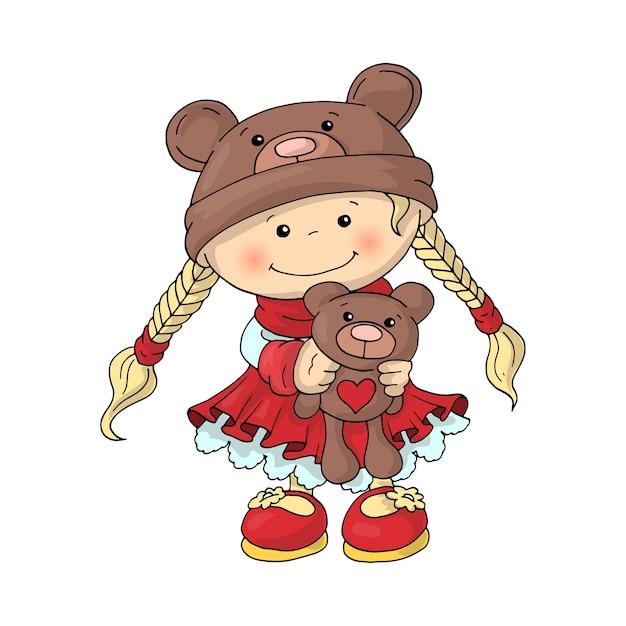 彼女の手にテディベアとスマートな赤いドレスのテディベアの帽子のかわいい女の子。 Premiumベクター