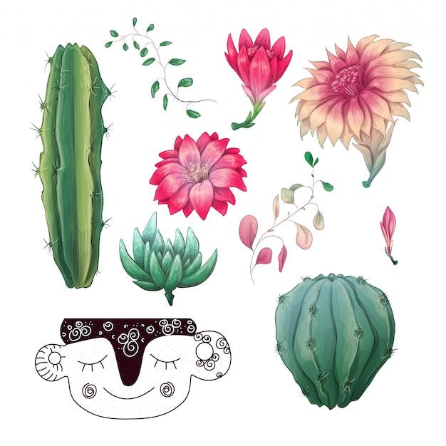 Набор для сбора значков в горшках кактусов и суккулентов. Premium векторы