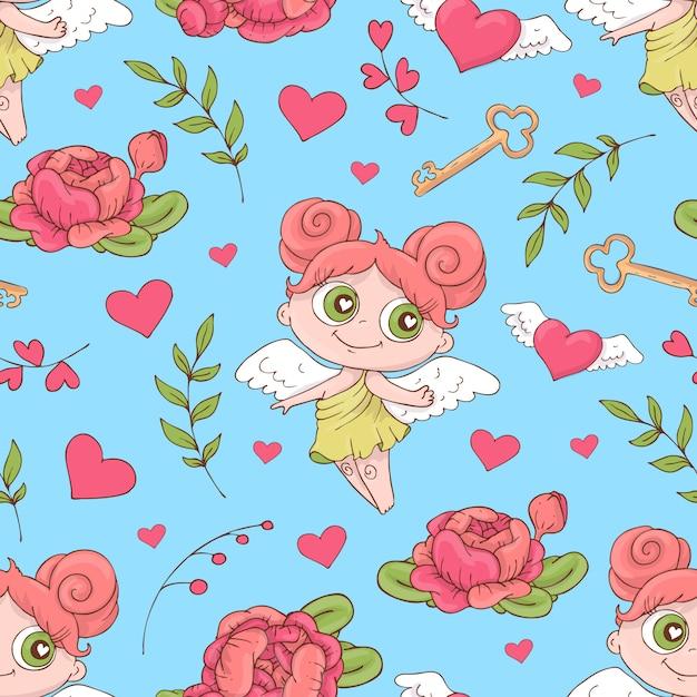 バレンタインデーのシームレスパターン。 Premiumベクター
