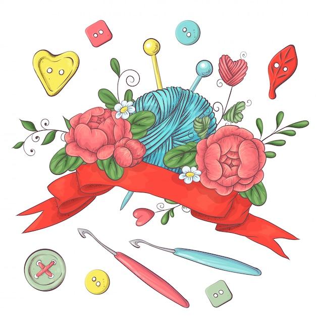 Набор для логотипа ручной работы для вязания крючком и спицами. Premium векторы