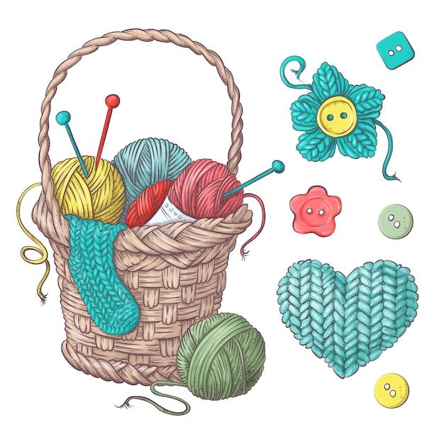 かぎ針編みや編み物のための手作りのバスケットのために設定します。 Premiumベクター