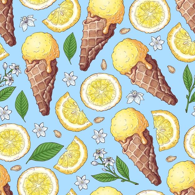 カラフルなレモンとみかんのフルーツとシトラスのアイスクリーム Premiumベクター
