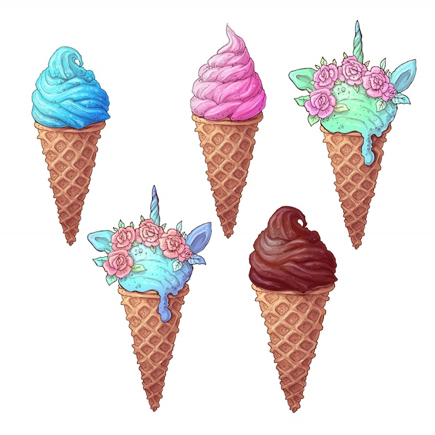 カラフルなアイスクリームユニコーンを設定します Premiumベクター