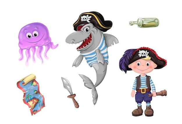 海賊のかわいい子供たちの面白い漫画のセット Premiumベクター
