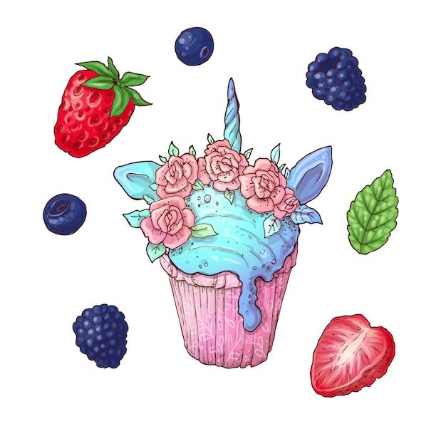 アイスクリームコーンのベクトル図のセットです。ストロベリー、ブルーベリー、ラズベリーのブラックベリーアイスクリーム Premiumベクター