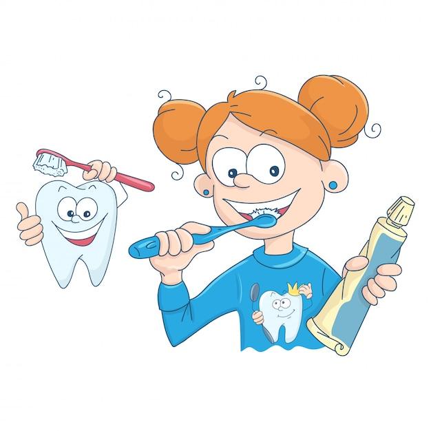 彼女の歯を磨く少女のイラスト Premiumベクター