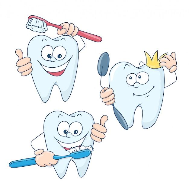 かわいい漫画の健康的で美しい歯。 Premiumベクター