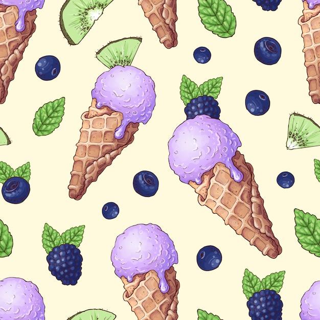 シームレスパターンアイスクリームの野生の果実 Premiumベクター