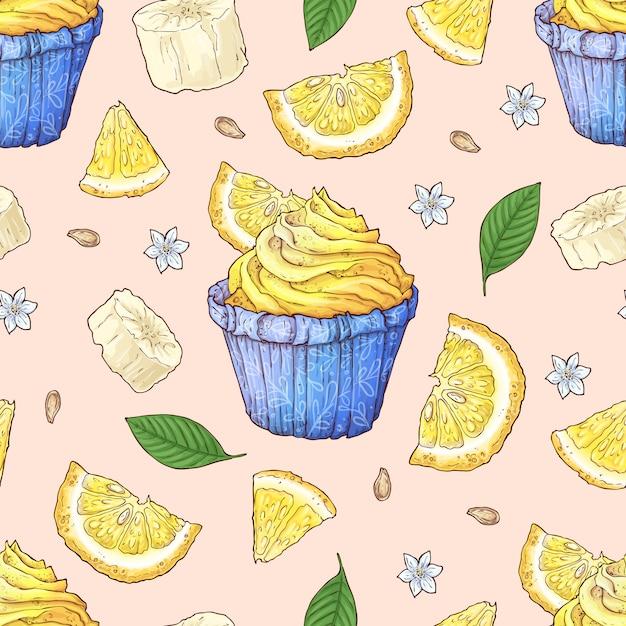 フルーツケーキのシームレスパターン。 Premiumベクター