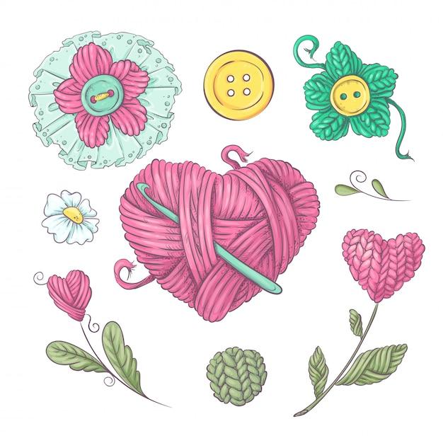 編み物のセットは編み針を切る。手描き Premiumベクター