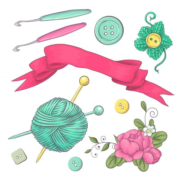 Набор вязаной одежды клубок вязальной спицами. рука рисунок. Premium векторы