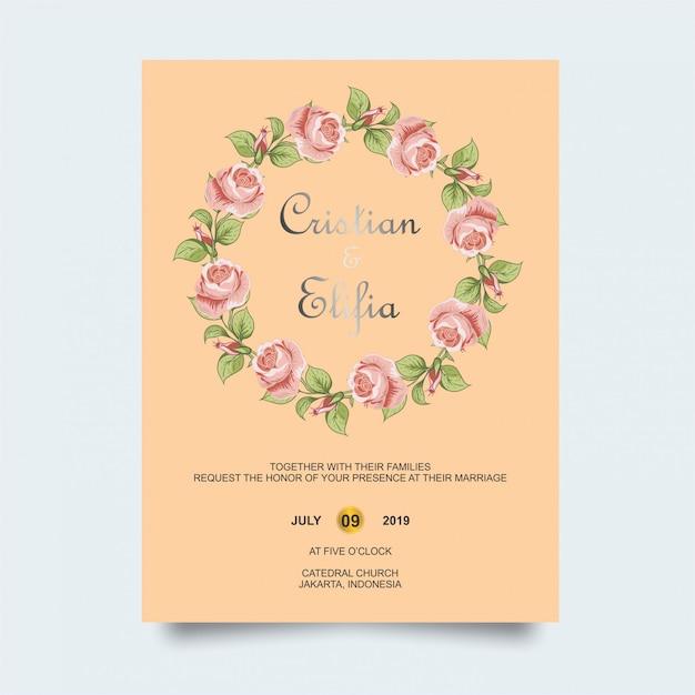ピンクの花の結婚式の招待状 Premiumベクター