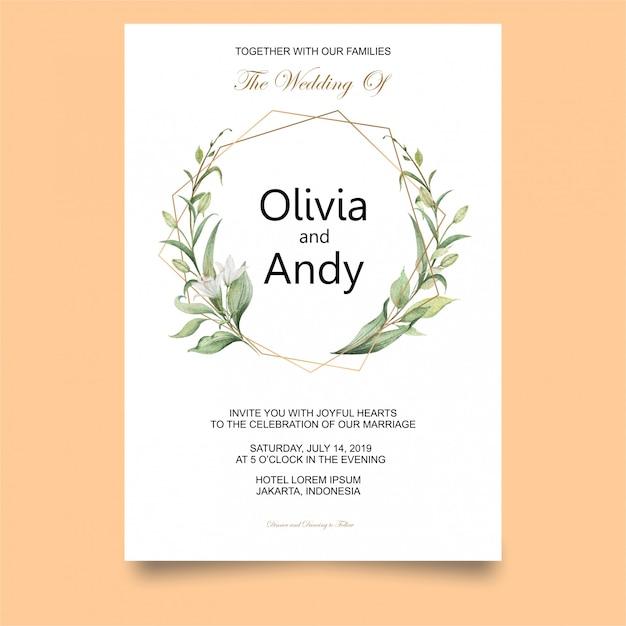 エレガントな結婚式の招待状のテンプレート Premiumベクター