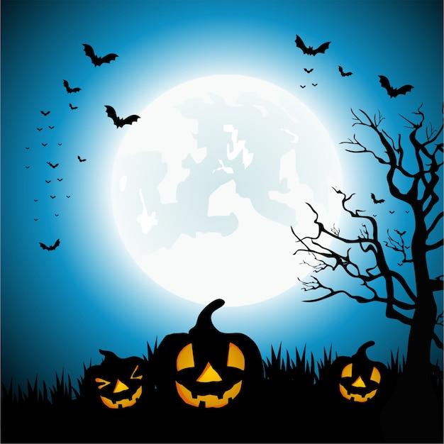 満月とカボチャの背景を持つ幸せなハロウィーンの日 Premiumベクター