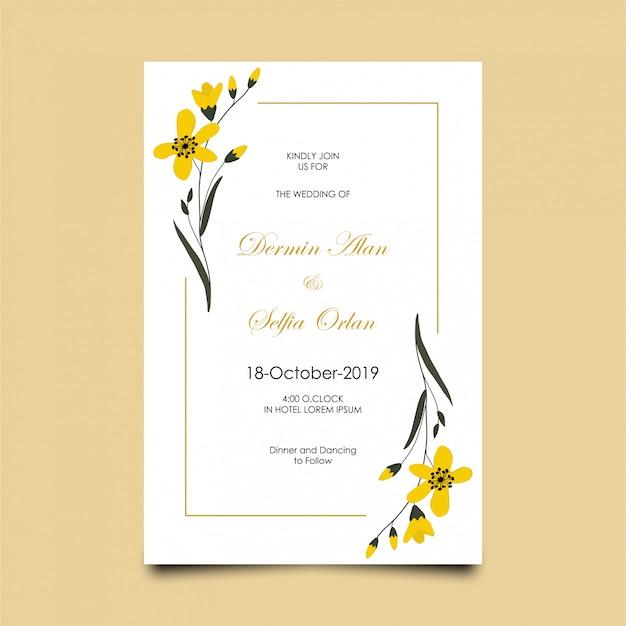 花とモダンな結婚式の招待状 Premiumベクター