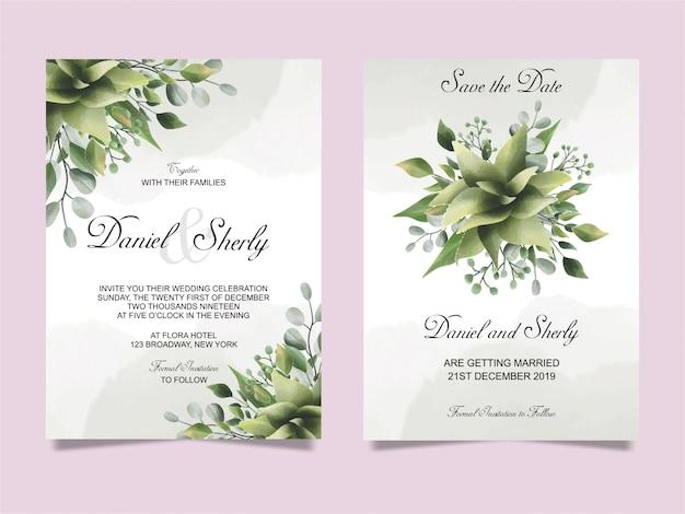 結婚式招待状葉緑水彩風 Premiumベクター