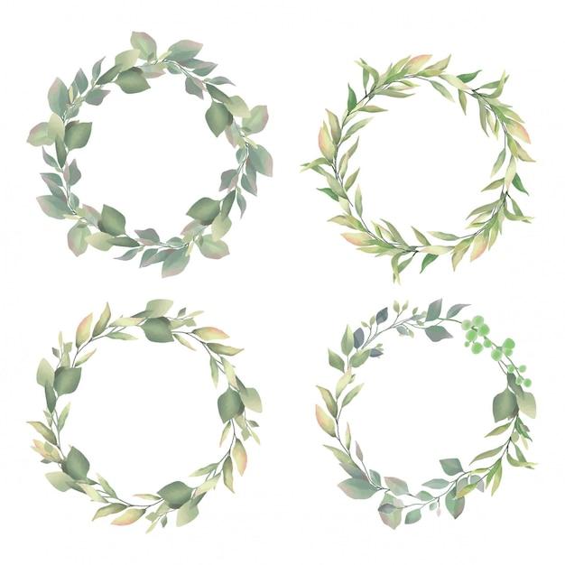 結婚式の招待状フレームの葉水彩風 Premiumベクター