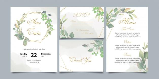 水彩花の結婚式の招待状のテンプレート Premiumベクター