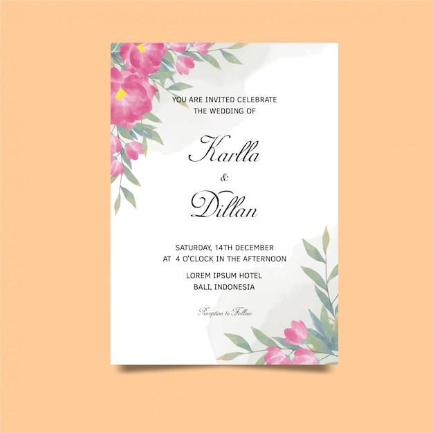 Шаблон свадебного приглашения в стиле акварель тюльпан Premium векторы
