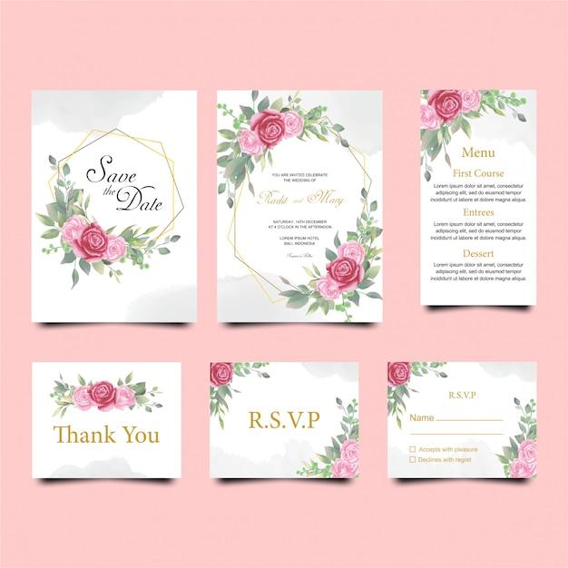 水彩色の花の結婚式の招待カードテンプレート Premiumベクター