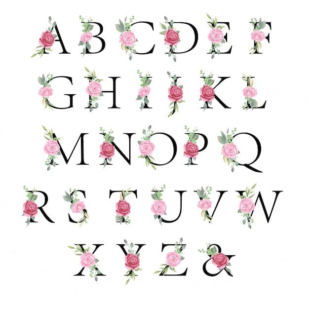 花のアルファベットセット、水彩花と結婚式招待状の葉の文字 Premiumベクター