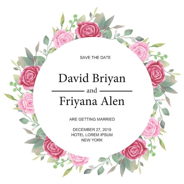 花の水彩画で結婚式招待状丸みを帯びたカードテンプレート Premiumベクター