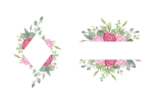 水彩バラ結婚式招待状フレーム Premiumベクター