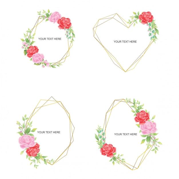 緑の葉のバラの装飾とゴールドラインの結婚式招待状フレームのコレクション Premiumベクター