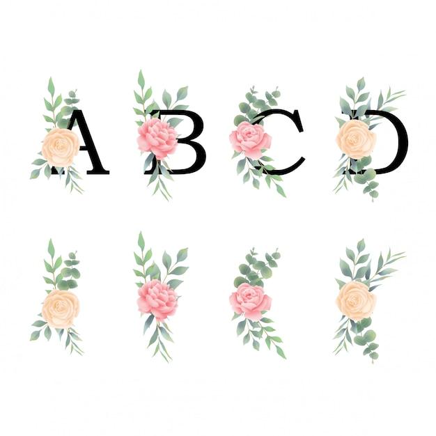 Буквы алфавита с украшениями из роз и листьев в стиле акварели Premium векторы