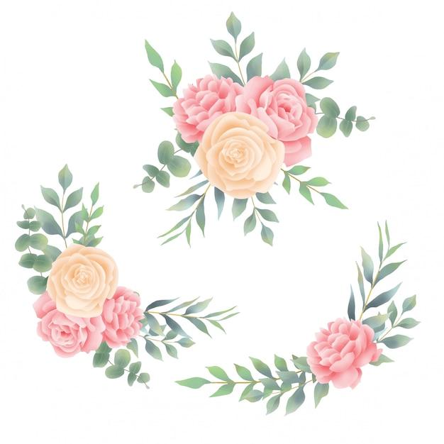 バラの花束と葉水彩風 Premiumベクター