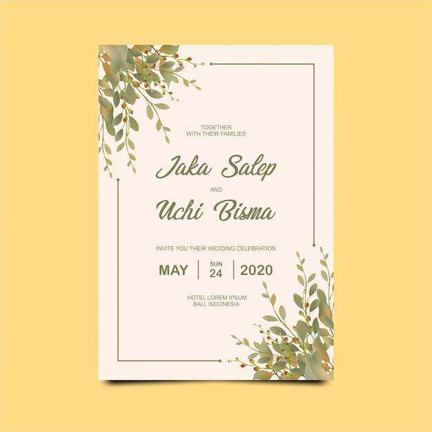 水彩の葉で美しい結婚式の招待状 Premiumベクター