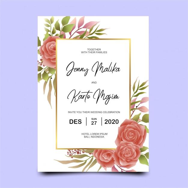 美しい赤いバラロマンチックな花の結婚式の招待状 Premiumベクター