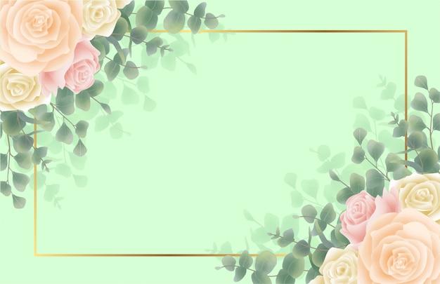 花と葉のフレームと緑の背景 Premiumベクター
