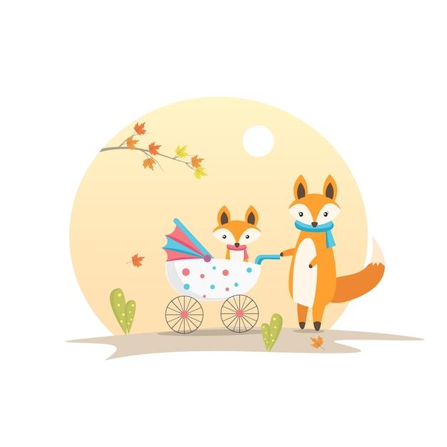 ママフォックスとキャロウェイ動物キャラクターベクトルイラストの