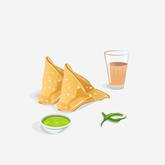 インドのサモサスナックとチャイを白で隔離される緑のチャツネ Premiumベクター