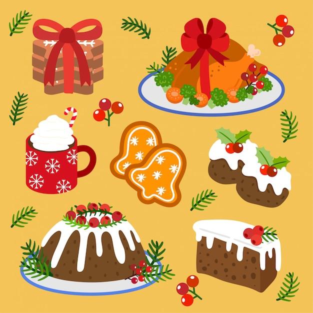 ベクトルクリスマスフードとクリスマスケーキのセット。 Premiumベクター