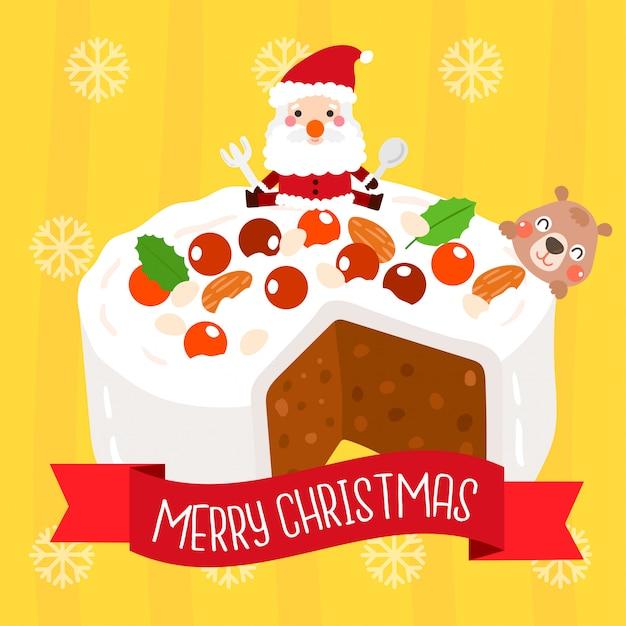 クリスマスケーキベクトル。 Premiumベクター